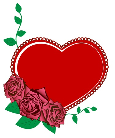 Vector illustration of pink roses and heart Stock Vector - 15935599