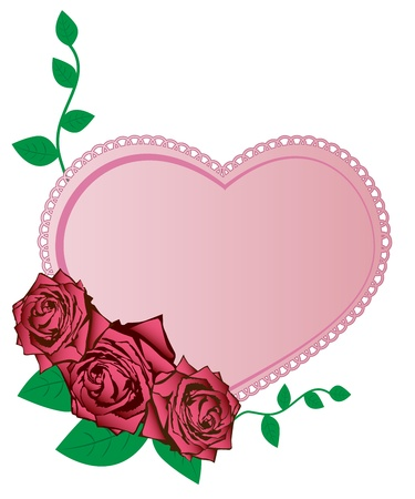 Vector illustration of pink roses and heart Vector