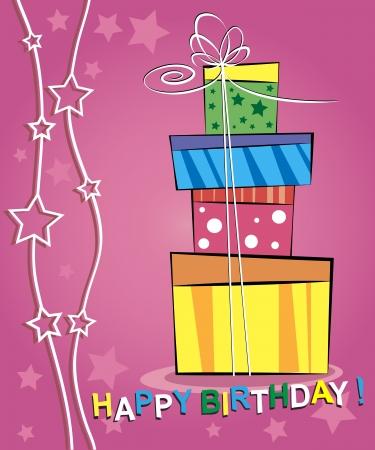 Vector illustratie van gelukkige verjaardagskaart ontwerp Stock Illustratie