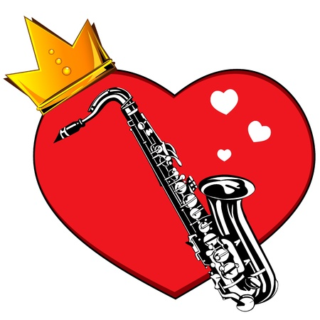 Heart and saxophone  Musical greeting card Vector