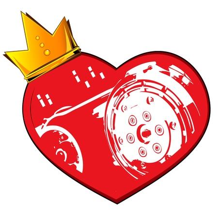 heart and crown: Cuore corona e motore Vettoriali