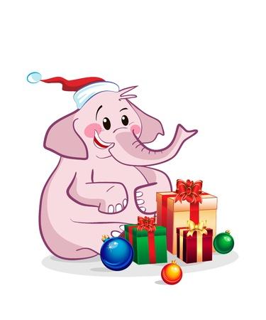 Elephant celebrates new year Stock Vector - 16633654
