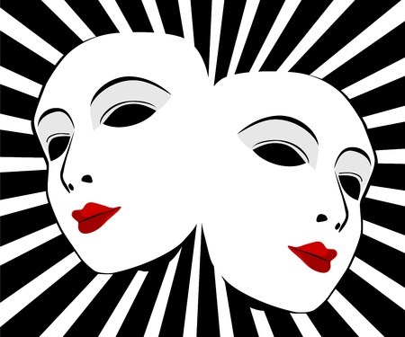 Masks with the theater concept Vector