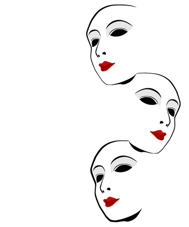 theatrical performance: White mask against a white background Illustration