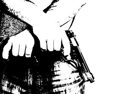 Man shooting a gun. Gangster with gun. Stock Photo - 16708521