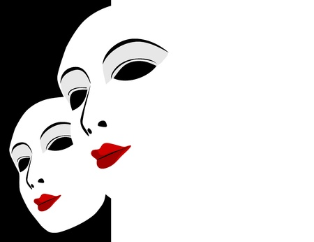 White mask and black and white background Vector