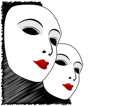 White mask and black and white background Stock Vector - 16766002