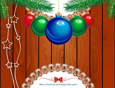 Christmas tree with baubles on wood texture  Vector