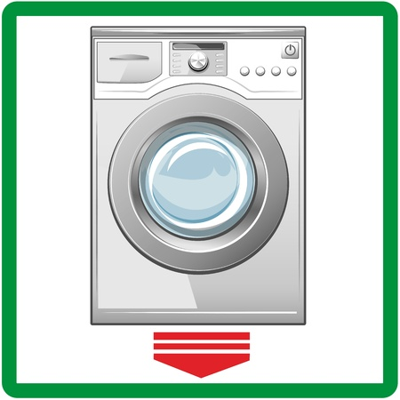 washing machine: Cerrado m�quina de lavado de Vector fondo blanco