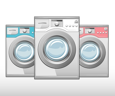 Closed washing machine on white background  Vector Vector