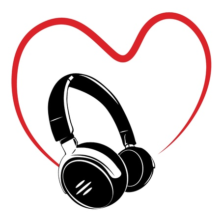 Headphone, love of music. Vector