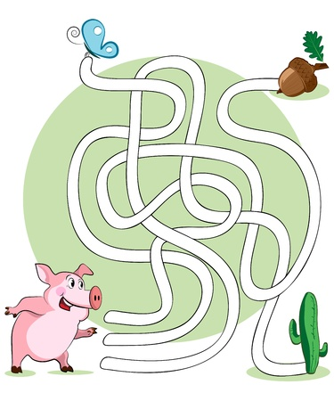 educational problem solving:  illustration, maze, help the pig reach her nuts, card concept.