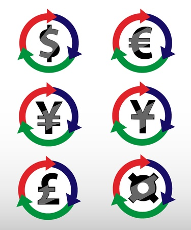 currency symbols: Currency Symbols: dollar, euro, pound, yuan, yen, currency. Vector.