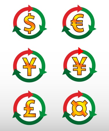 currency symbols: Currency symbols: dollar, euro, pound, yuan, yen, сurrency.