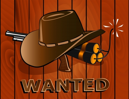 midwest: Wanted Poster. Wild west Illustration