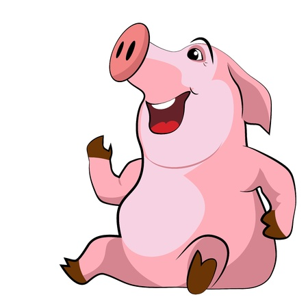 Happy smiling pig on a white background Stock Vector - 17050878