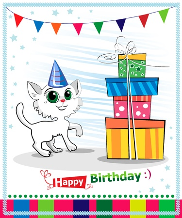 Happy birthday card design. Wwhite cat Stock Vector - 17061285