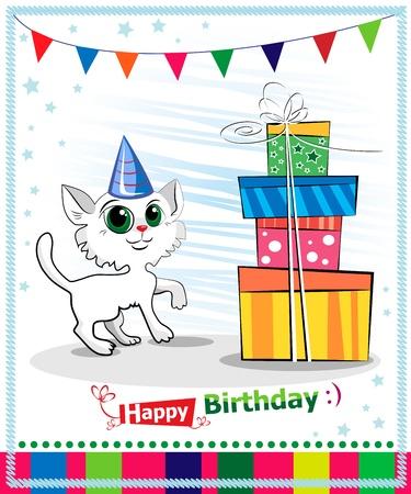 Feliz cumpleaños diseño de tarjeta. Wwhite gato