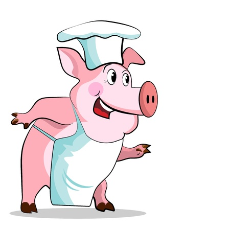 culinary arts: Pig cook - chef holds, isolated on white background.