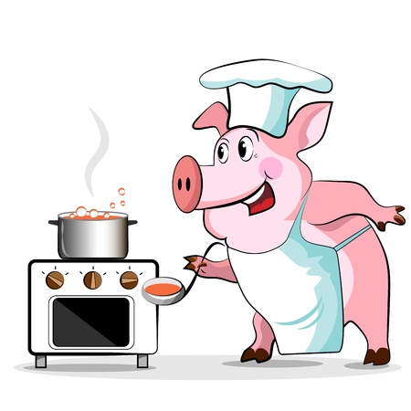 Pig cook - chef holds, isolated on white background. Vector