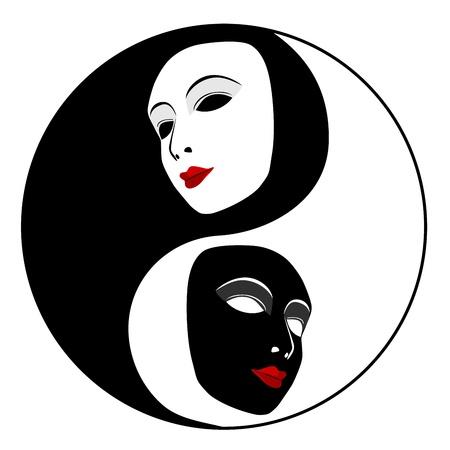 pantomima: M�scaras Ying yang s�mbolo de la armon�a y el equilibrio Vectores