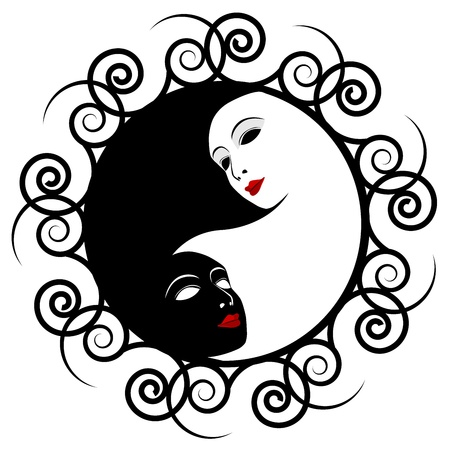 ying yan: Masks  Ying yang symbol of harmony and balance Illustration
