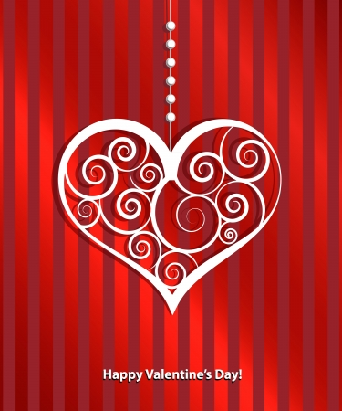 Happy valentines day cards with ornaments, hearts Imagens - 17380811