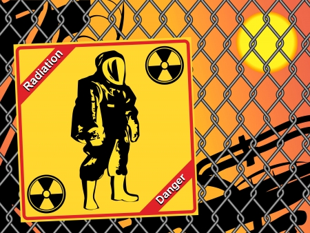 geiger: Radiation suit - sign radiation. Danger