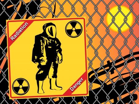 Radiation suit - sign radiation. Danger