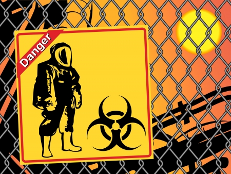 biological warfare: Biohazard warning on yellow sign. Danger