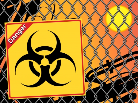 Bio hazard sign. Yellow and black bio hazard Vector