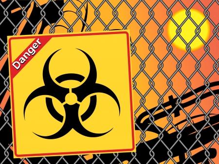 the bacteria signal: Bio hazard sign. Yellow and black bio hazard