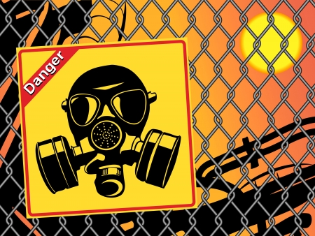 biological warfare: Gas mask. Danger sign