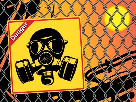 Gasmasker. Gevaar teken Stock Illustratie