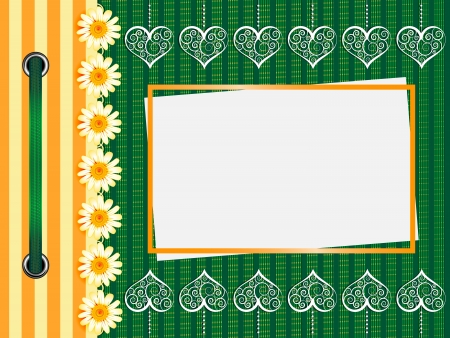 Framework for a photo or invitations. A green bow. Vector