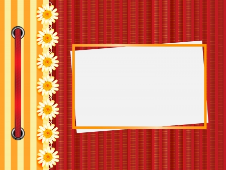 Framework for a photo or invitations. A red bow. Illustration