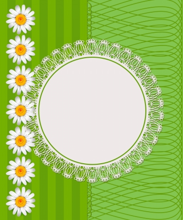 Greeting card with daisies and abstracts background. Chamomile flower. Stock Vector - 17613250