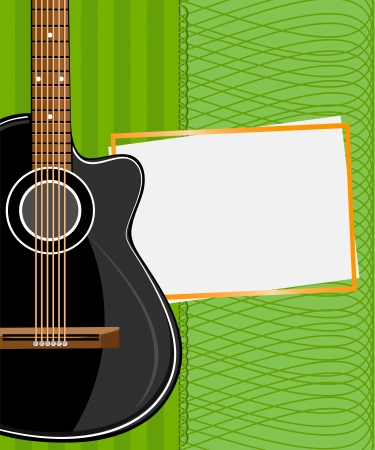 sound card: Greeting card with daisies and abstracts background. Black acoustic guitar