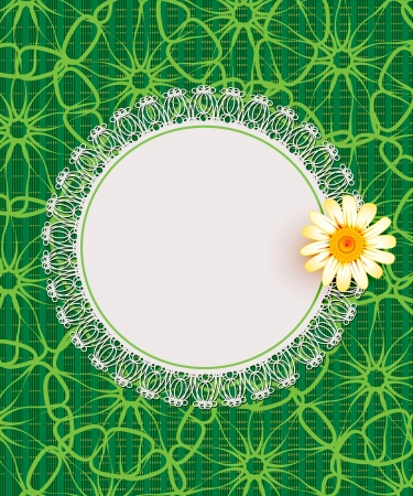Greeting card with daisies and abstracts background. Chamomile flower. Stock Vector - 17613260
