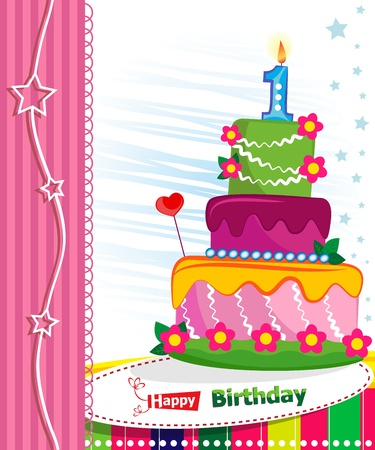 first day: First Birthday Cake. Children postcard. Day of birth.