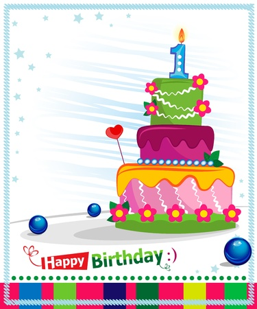 First Birthday Cake  Children postcard  Day of birth  Vector