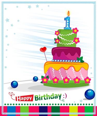 torta compleanno: Prima torta di compleanno per bambini cartolina Giorno di nascita Vettoriali