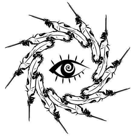 Illustratie van een witte veer van een vogel in de vorm van de pen Stockfoto - 17636061