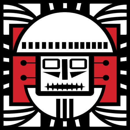 Ornament in style of the Maya  Head of the person  Vector