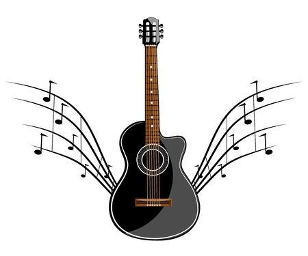 ready to cut: Black classic guitar stencil ready for vinyl cut Illustration