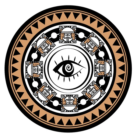 mayan prophecy:  Ornament in style of the May  Head of the person