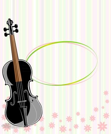 fiddlestick: Violin, music sheets   vintage floral ornament Illustration