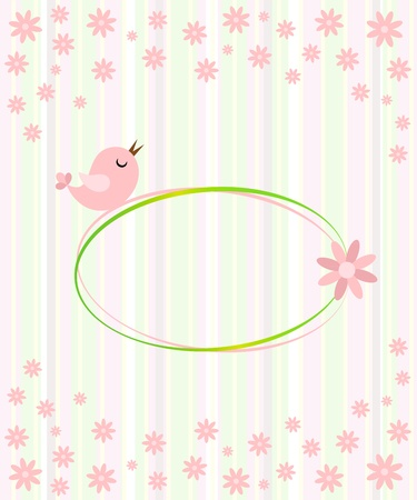 Cute bird in the flowers garden Vector