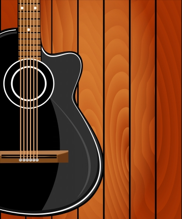 Acoustic guitar on wood background Vector