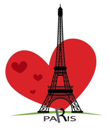 tower tall: Paris cards as symbol love and romance travel Illustration